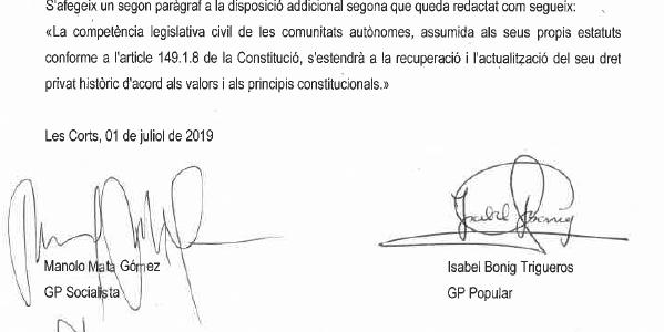 El Botànic i el PPCV registren iniciativa per a recuperar el dret civil valencià