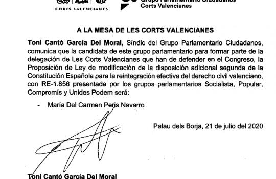 Juristes Valencians muestra su satisfacción por el apoyo de CIUDADANOS a la reforma constitucional para conseguir la reintegración del derecho civil valenciano