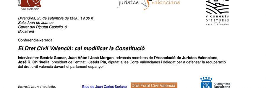 Conferència: El Dret Civil Valencià: cal modificar la Constitució